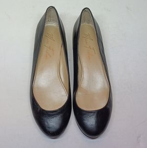MARC FISHER 'Scotty' Black Leather Flats
